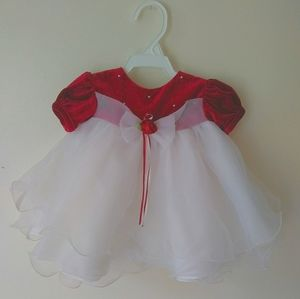 Rare Editions Red Velvet Flare Dress Infant 3m